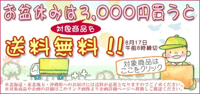 お盆休みは3000円以上で送料無料(リンク用)